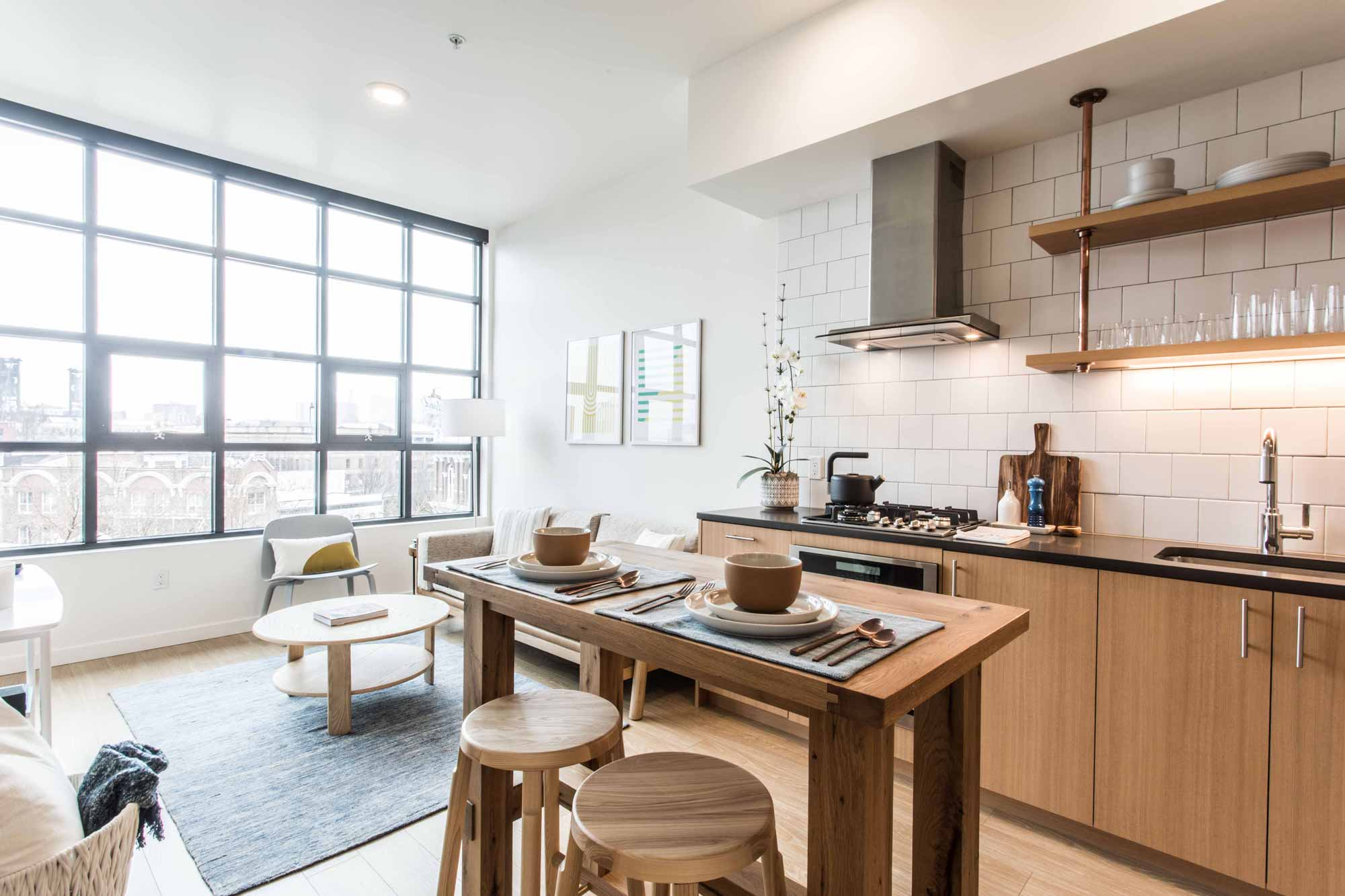 Contemporary kitchen design at 230 Ash luxury apartments in downtown Portland